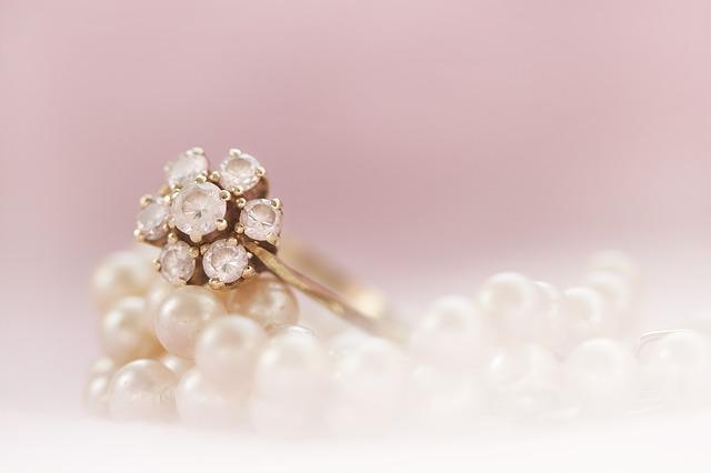 anillo, oro, perla